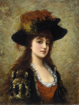 Classical figurative painting canvas portrait poster beauty picture female portrait young girl with hat modern home decor