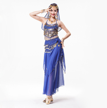 Coin Belly Dance Clothing 4-piece Halter Top, Hip Scarf , Maxi Chiffon Skirt Rhinestone Headpiece Indian Costume Set 8 Colors