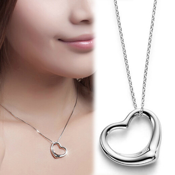 Fashion Heart Shaped Silver color Open Heart Pendant Chain Necklace Silver color Jewelry Drop Shipping