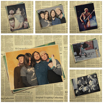 Red Hot Chili Peppers retro nostalji kraft kağıt dekoratif rock müzik posterler