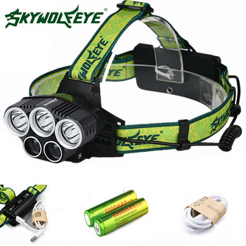 SKYWOLFEYE LED Headlamp Cree XML T6 20000 Lumens 4 Mode 5X LED Headlight USB Power Rechargeable Hunting Head Light+18650 Battery