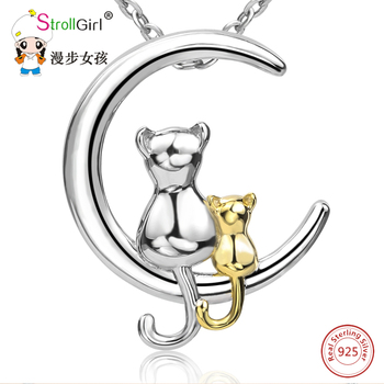 StrollGirl 925 Sterling Silver Chain Pendant Necklace Fashion Jewelry my cute cat with mom Necklaces & Pendants For Women gifts